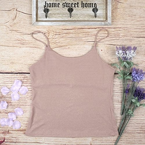 Tsmile Women Vest Tops V-Neck Lady Camisole Strap Blouse Clothes (Pink, M)