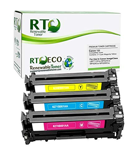 Price comparison product image Renewable Toner Compatible Toner Cartridge Replacement for Canon 131 6271B001AA 6269B001AA 6270B001AA ImageClass LBP7110 MF624 MF628 MF8280 (Cyan,  Magenta,  Yellow,  3-Pack)