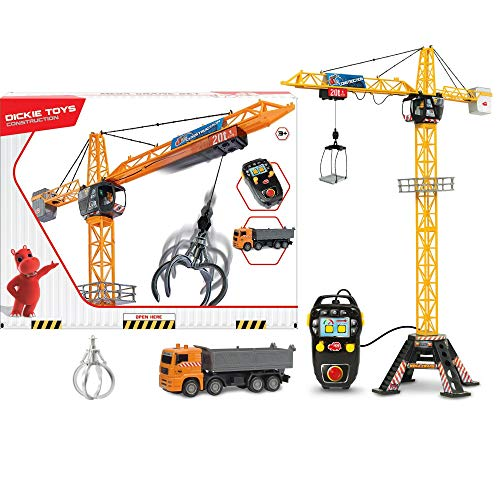 Dickie - Mega grúa a control remoto por cable, incluye camión volquete con plataforma de carga y gancho (Dickie 201139014)