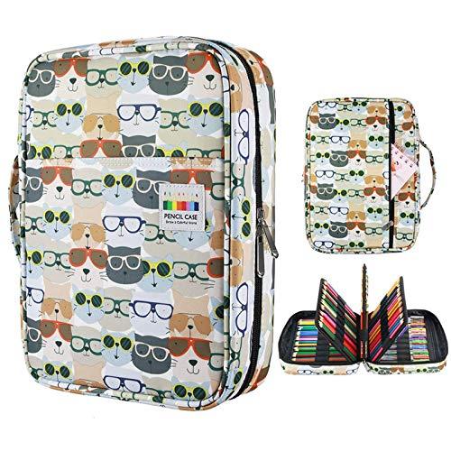 216 ranuras de gran capacidad bolsa de lápices bolsa de almacenamiento bolsa de cosméticos lápiz de color pluma marcador de gel gran regalo gafas