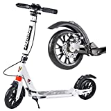 Patinete Adulto, Kick Scooter Plegable para niños Adultos jóvenes - Big Wheels Hand Brake Deluxe Aluminum Glider, Doble suspensión y Altura Ajustable, Capacidad de 330 lbs. (Color : White)