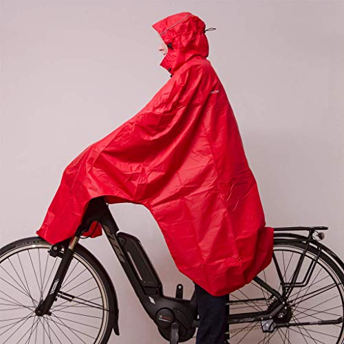 Lowland Outdoor Poncho Bicicletta │100% Impermeabile (7000mm) (Rosso)