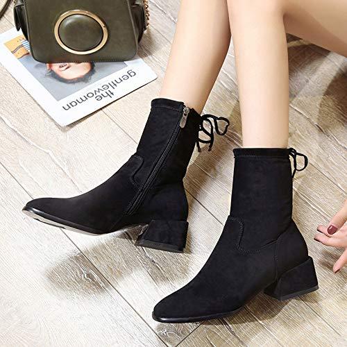 Shukun enkellaarzen herfst en winter dameslaarzen in de laarzen waren dun en dik met elastische laarzen, Martin laarzen, damesschoenen, laarzen