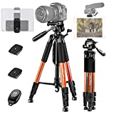 "JOILCAN 65""Camera Tripod for Canon Nikon Lightweight Aluminum Travel DSLR Camera Stand 11 lbs Load with Universal Phone/Tablet Mount,2PC Quick Plates(Orange)"