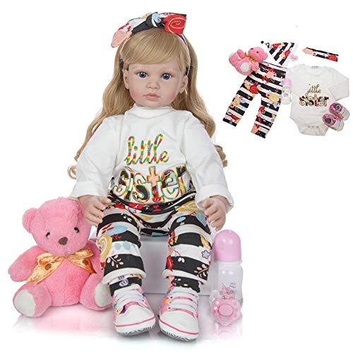 Cenphua 60cm Reborn Puppen Realistische Silikon Vinyl Neugeborenen Langes Haar Mädchen Prinzessin Kleidung Lebensechte Handgemachte Geschenke (Type 2 - Blue Eyes)