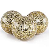 MDLUU 3 Pcs Decorative Orbs, Mosaic Sphere Balls, Centerpiece Balls for Bowls, Vases, Dining Table Decor, Diameter 4 Inches (Gold)