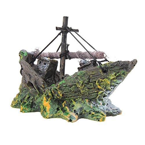Outflower Décoration de jardin en forme de bateau de pirate pour aquarium - Décoration de jardin féérique - Mini pot de fleurs - Accessoires en résine - 13 x 5 x 10 cm