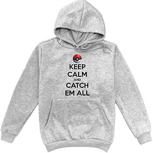 Keep Calm and Catch Em All Pokemon Grijs Unisex Sweatshirt Hoodie