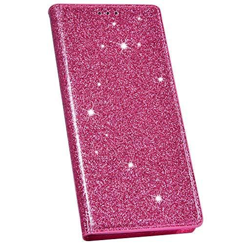 Ysimee Compatible avec Coque iPhone 7/8 Mode Glitter Housse en Cuir Coque à Rabat Portefeuille Aimant à Enfiler avec Emplacement pour Cartes de Crédit et Fonction Béquille,Rose Rouge