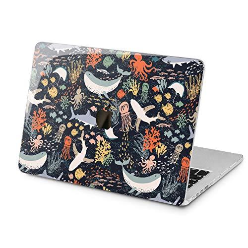 Cavka Hard Shell Case for Apple MacBook Pro 13' A2338 2020 Air 13' A2179 Retina 2015 Mac 11' Mac 12' Cute Shark Design Kawaii Especial Cover Fish Plastic Print Sea Laptop Protective Whale Ocean