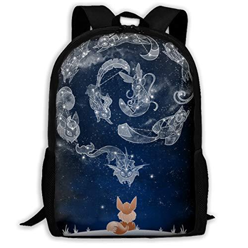 Kids Eevee Constellation Backpack Students Bookbags Durable Daypacks Rucksack 17 Inch for Boys&Girls