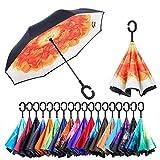 Paraguas de doble capa invertido Jooayou con mango en forma de C, plegable, resistente a los rayos UV y al viento, para viajar, con bolsa de transporte, Mujer, Begonia