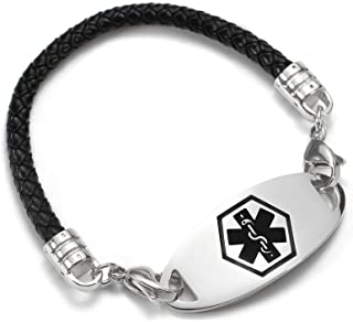 Medical Alert ID Bracelet Stainless Steel Tag Black Braided Leather Bangle for Girls and Boys 6.5inch Free Engraving