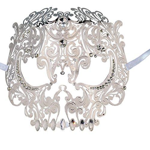 Skull Face Masquerade Masks Mardi Gras Party Mask with Rhinestones (Silver)