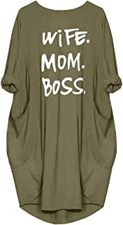 Wife Mom Boss Letters Print Cotton Long Sleeve T-Shirt Dresses Pockets For Women