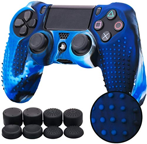 YoRHa Studded Silicone Cover Skin Case for Sony PS4/slim/Pro Dualshock 4 Controller x 1(Camouflage Blue) with Pro Thumb Grips x 8