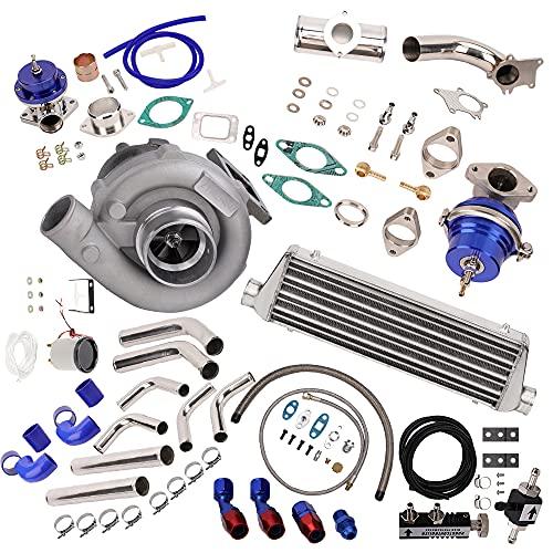 10Pcs Universal T3/T4 T3 T4 T04E Turbo Kit 400+HP Stage III + Wastegate + Intercooler + Piping + BOV + Oil Feed/Return Lines Kit New