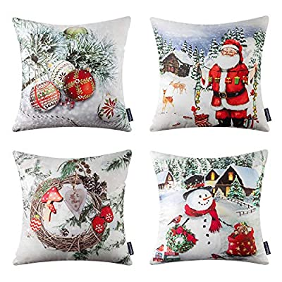 Phantoscope Merry Christmas Decorative Throw Pillow Cover Modern Santa Clause, Vintage House, Pine Wreath and Smile Snowmen for Xmas Home Decor Bed Car Couch Pack of 4, 18 x 18 inch 45 x 45 cm
