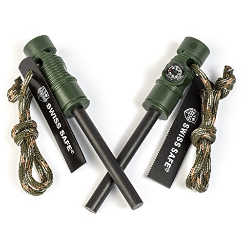 Swiss Safe 5-in-1 Fire Starter with Compass, Paracord and Whistle (2-Pack) for Emergency Survival Kits, Camping, Hiking,...
