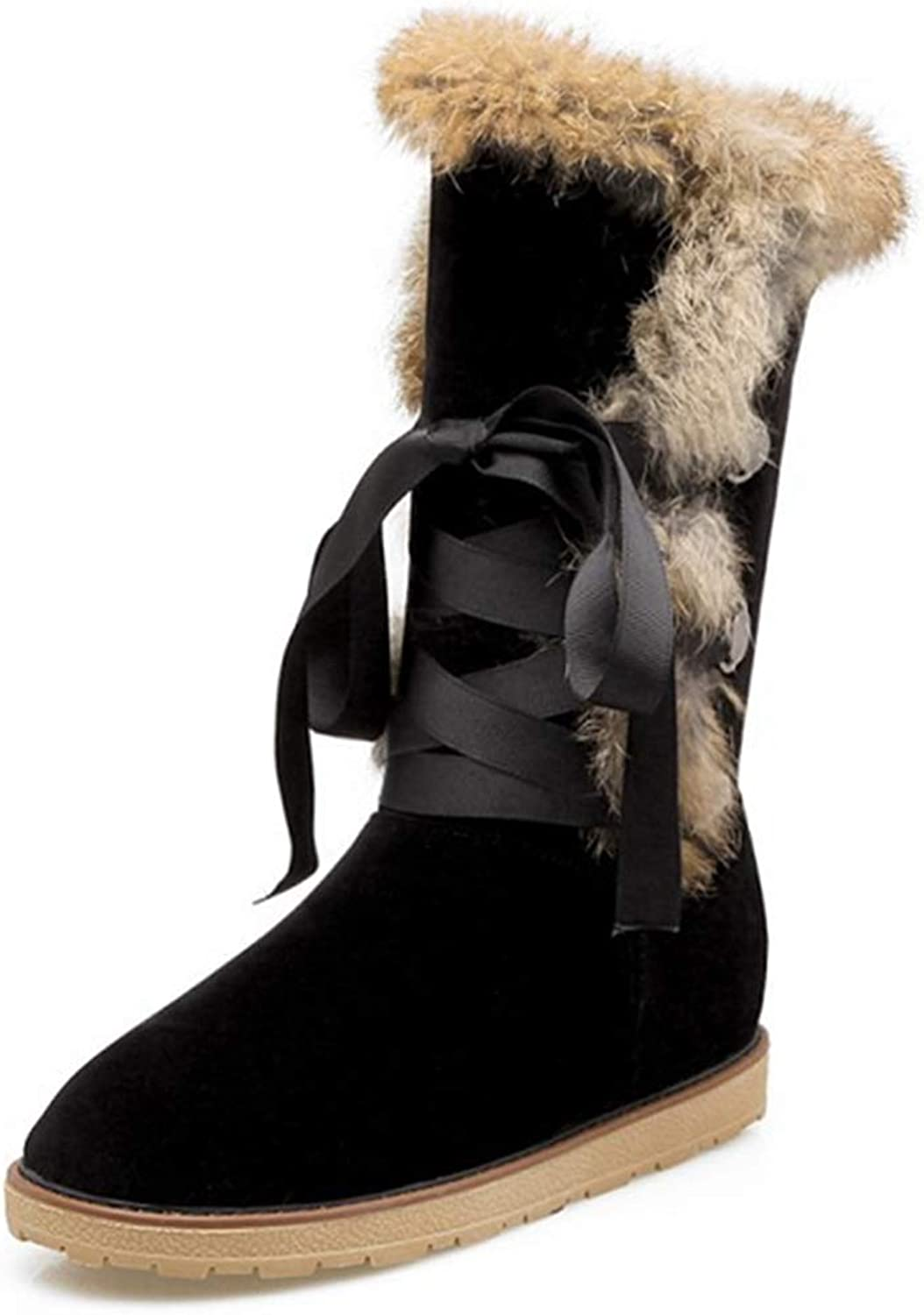 GIY Women's Mid-Calf Snow Boots Suede Leather Lace Up Warm Fur Low Heel Slip On Flat Heel Boots