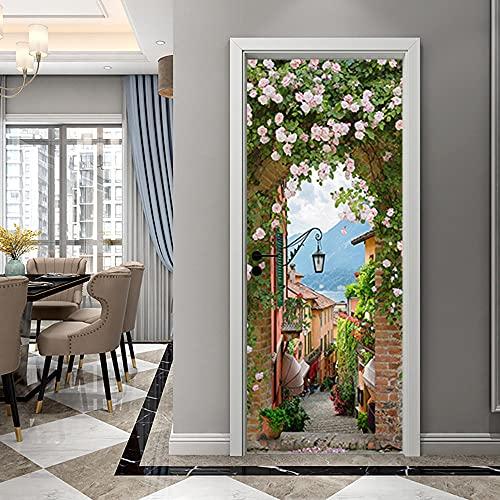 Pegatinas de Puerta en 3D 88x200cm DIY Autoadhesivo Puertas Mural Etiqueta Papel Tapiz para el Dormitorio Sala de Baño Cocina Calcomanía de la Puerta Pared - Flower Town