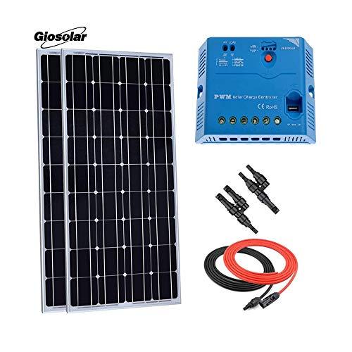 Giosolar 200W 12V Pannello Solare Starter Kit: Pezzi 100W Pannello Solare monocristallino con 30a LED regolatore di Carica per Camper Barca off-Grid