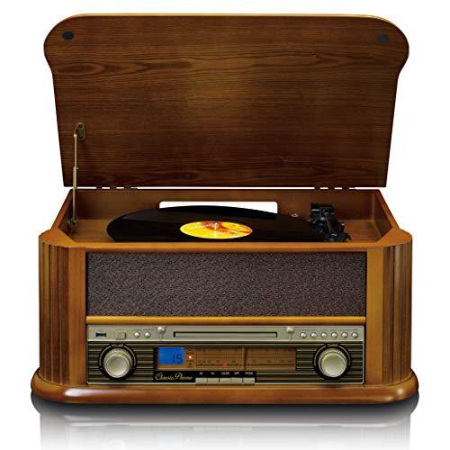 Classic Phono by Lenco Retro Plattenspieler TCD-2550 - Stereoanlage mit Radio CD-Player - Kassettenspieler - 33,45 und 78 RPM - Direktaufnahme von CD, LP und Kassette - 2 x 4,5 Watt RMS, Holz