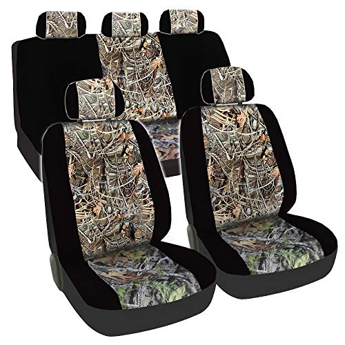 CarsCover Real Black Camo Seat Covers Maple Forest Tree Leaf Pattern Camouflage for Auto Truck Car SUV Hunter Style Seat Cover (9pc Black Camo Low Back)