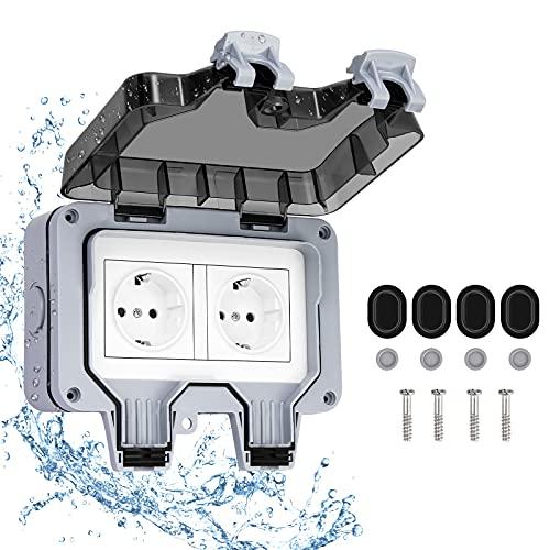 Enchufe exterior de 2 vías: enchufe de pared para exteriores, enchufe IP66 resistente al agua, enchufe con protección de contacto con tapa para interior y exterior, enchufe exterior para cocina