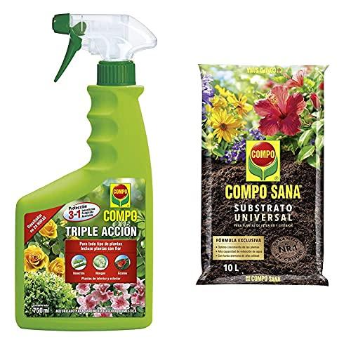 Compo Triple Acción Protección Contra Insectos, Hongos Y Ácaros + Sana Universal De Calidad Para Macetas Con 12 Semanas De Abono Para Plantas De Interior, Terraza Y Jardín