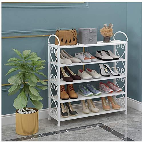 aipipl Zapatero Blanco, Organizador de Zapatos de Metal de 5 Niveles, Zapateros para armarios, Organizador de Zapatos para Armario, Zapatero Organizador, 12 a 15 Pares de Zapatos