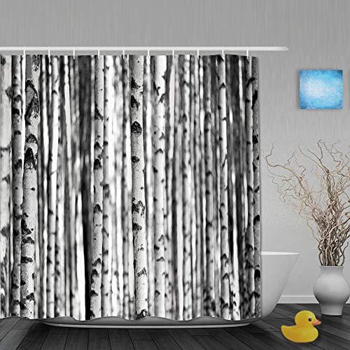 ShopHM Cortina de Baño,Troncos del Bosque Abedules Moda Negro Naturaleza Blanco Corteza Patrón Texturas monocromáticas Tronco Recto,Cortinas de Ducha con 12 Ganchos de plástico 180 * 180cm