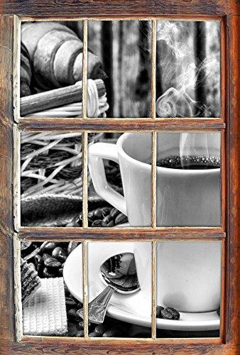 Stil.Zeit Monocrome, heiß aufgebrühter Kaffee Fenster im 3D-Look, Wand- oder Türaufkleber Format: 62x42cm, Wandsticker, Wandtattoo, Wanddekoration