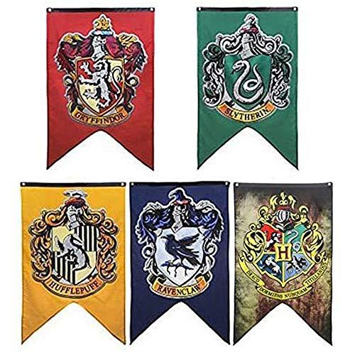 LawUza Hogwarts-Hausfahnen fürs College, 125 x 75 cm 4 College Banners in 1 Flag
