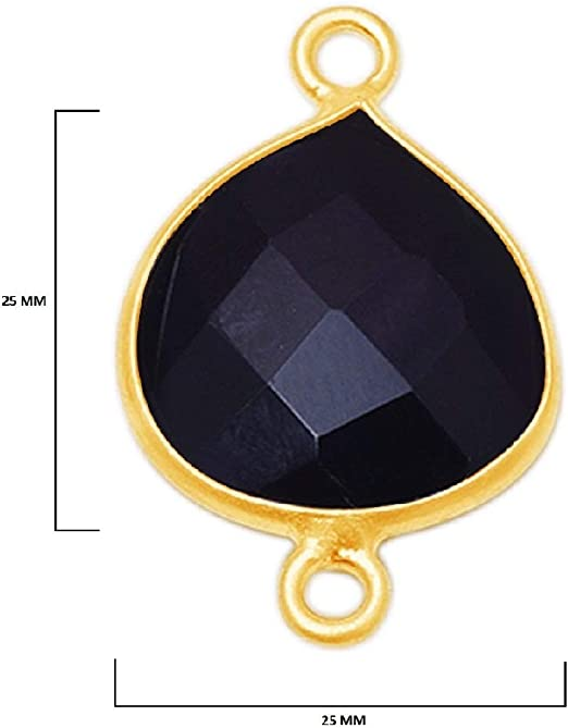Black Onyx Pear 24K Gold Plated Over 925 Sterling Silver Handmade Bezel Charms Links Connector Pendant Bail DIY Jewelry Making Earring