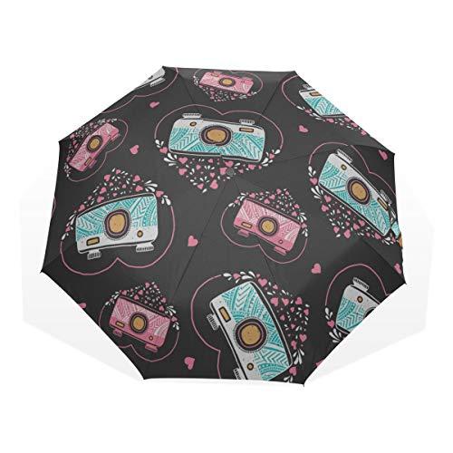 Compact Umbrellas Retro Modern Creative Beautiful Camera 3 Fold Art Umbrellas(outside Printing) Compact Sun Umbrella Kids Sun Umbrella Best Rain Umbrella