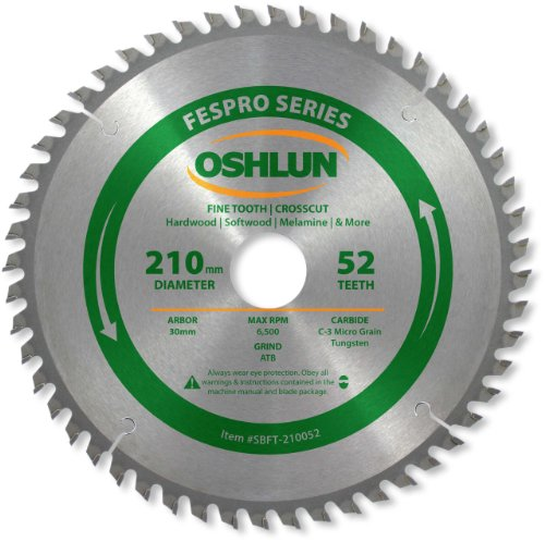 Oshlun SBFT-210052 210mm 52 Tooth FesPro Crosscut ATB Saw Blade with 30mm Arbor for Festool TS 75 EQ