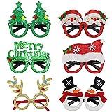 UBERMing Gafas de Navidad de Novedad 6 Piezas Gafas Decorativas Navideñas Navidad Brillo Creativo Gafas Divertidas Gafas de Navidad Gafas de Fiesta de Disfraces para Niños y Adultos