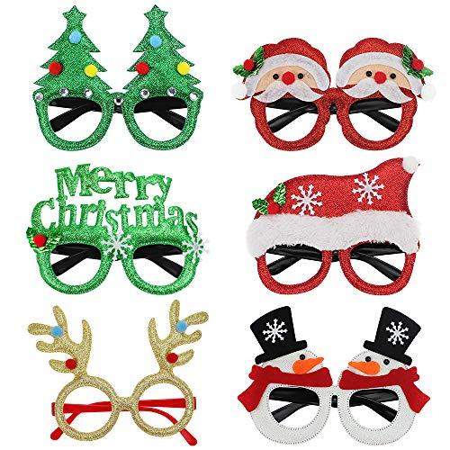 UBERMing Gafas de Navidad de Novedad 6 Piezas Gafas Decorativas Navideas Navidad Brillo Creativo Gafas Divertidas Gafas de Navidad Gafas de Fiesta de Disfraces para Nios y Adultos
