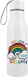 Follow Your Dreams Stainless Steel Water Bottle White 6.5x23.5cm