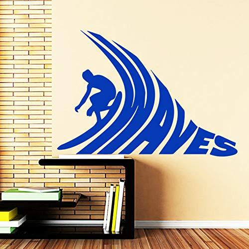 YuanMinglu Surf Wandaufkleber abnehmbare Hauptdekoration blau 58cmX82cm