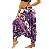 Nuofengkudu Mujer Pantalones Sueltos Hippi Tailandeses Estampado Verano Cintura Alta Elastica Entrepierna Baja para Yoga Casual Morado Flor