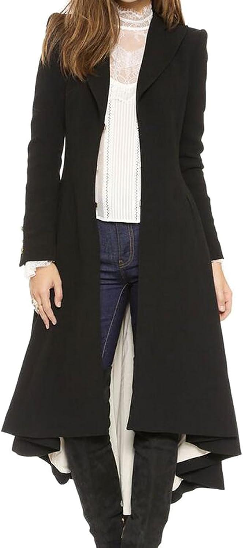 Nanquanwomen clothes NQ Womens Business Lapel Wear to Work High Low Long Blazer Coat