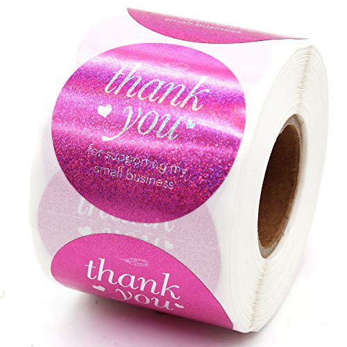 Muminglong Thank You for Supporting My Small Business Round Stickers, Thank You Sticker, Small Shop Sticker, Small Business, Packaging Sticker, Real Gold 500PCS, 1.5 inch, (Pink)
