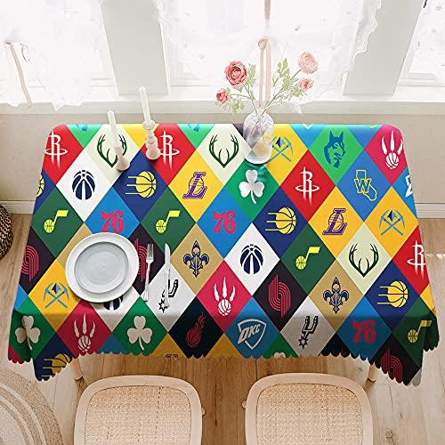 Mantel Antimanchas PVC Mantel Cuadrado Suave Moderno,Impermeable Lavable Manteles,Bodas Fiesta Decorativo para Reuniones Familiares de Cocina(Logotipo del Equipo de Baloncesto,140x200cm)