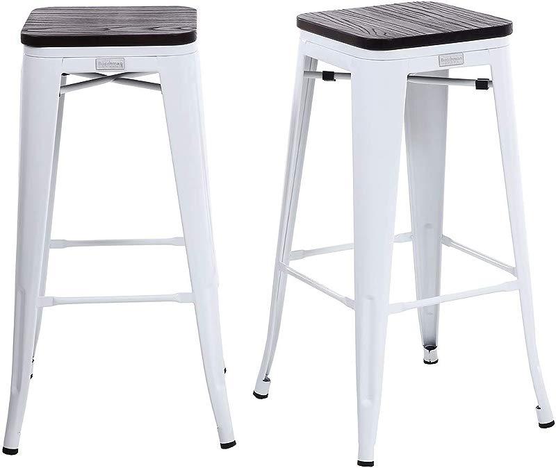 Buschman Set Of 2 White Wooden Seat 30 Inch Bar Height Metal Bar Stools Indoor Outdoor Stackable