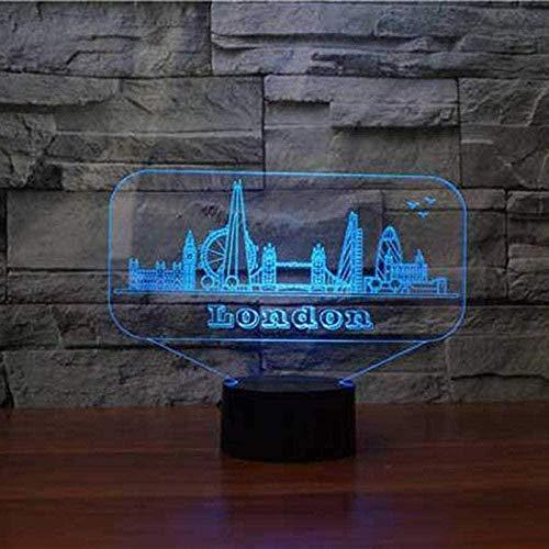 FUTYE Lámpara de ilusión 3D LED noche luz Londres arquitectónica 7 colores cambiantes dormitorio para niños regalo táctil USB lámpara de mesa mejor cumpleaños regalos de Navidad para niños