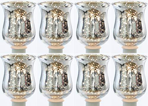 Novaliv 8X Teelichtaufsatz Silber Glasaufsatz für Kerzenleuchter Kerzenständer Glas Adventskranz Teelichthalter Stabkerzenhalter Weihnachten Kerzenpick 6cm