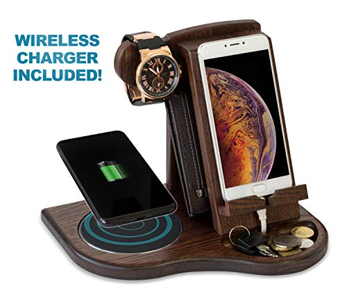 TESLYAR Wood Phone Docking Station with Wireless Charger Included Ash Wallet Stand Watch Organizer Men's Gift Charging Dock Holder Anniversary Dad Birthday Nightstand Compatible Any Phone Charging