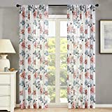 MRTREES Sheer Curtains Flower Leaf Printed Living Room Curtain Sheers 95 inches Long Bedroom Peach Red Floral Print Voile Curtain Panels Rod Pocket Drapes Vintage Rustic Window Treatment Set 2 Panels